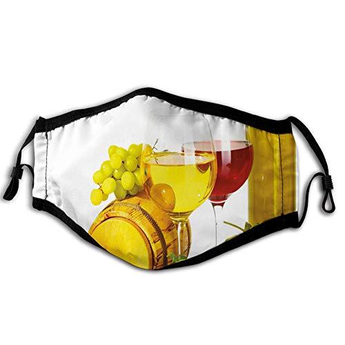 Comfortabele Winddichte Gezichtsafdekking, Samenstelling met Kleine Vat Twee soorten Druiven Drankjes Drank Drank Product, Gedrukt Gezichtsdecoraties voor man en vrouw
