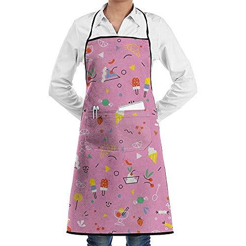 JESSA EIS und Süßigkeiten Schürzen Lätzchen Grillschnur Verstellbare Erwachsenen Küche Kellner Schürzen mit Taschen