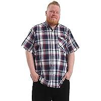 Brooklyn Imports LTD Hombre Talla Grande Casual Manga Corta Camisa con Bolsillo en Pecho Disponible en 2XL-6XL - Rojo/Cuadros Marino, 4XL