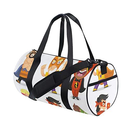 HARXISE Bolsa de Viaje,Niños disfrazados de superhéroes Sala de Juegos para niños Niñas Niños Guardería Imagen Infantil,Bolsa de Deporte con Compartimento para Sports Gym Bag