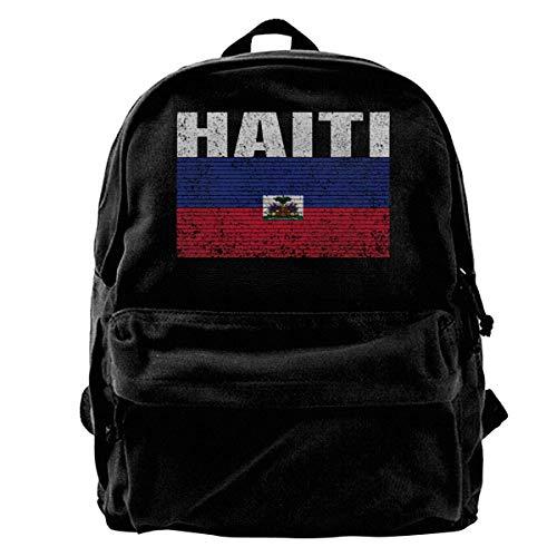 GOSMAO Mochila de Lona Mochilas Escolares Bandera de Haití Niño Haitiano Mochila de Lona para portátiles Mochilas de Viaje Bolsa de Gran Capacidad Unisex