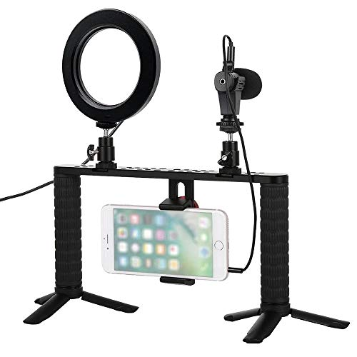 Studio microfoon Boom Arm Live Streaming Video Recording Broadcast Microfoon Rings Fill Light selfie Smartphone Holder voor opnamen die uitzendingen streamen, zingen