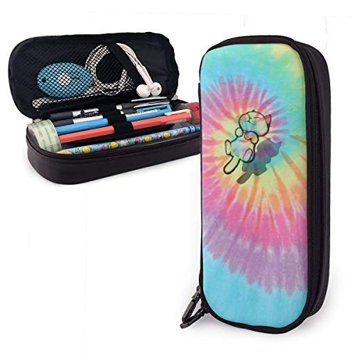 FJSLIE Pastel Spiral Tie Dye PU Leather Pouch Storage Bags Portable Student Pencil Office Stationery Bag Zipper Wallets Makeup Multi-Function Bag
