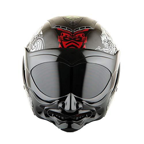 Martian Motorcycle Open Face Fiber Glass Helmet Scooter Classical Knight Bike Samurai Black + One Extra Clear Shield