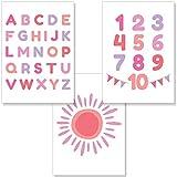 PREMYO Cuadros Infantiles para Habitación Niña - Láminas Decorativas para Enmarcar - 3 Póster Alfabeto ABC Sol Rosa A4