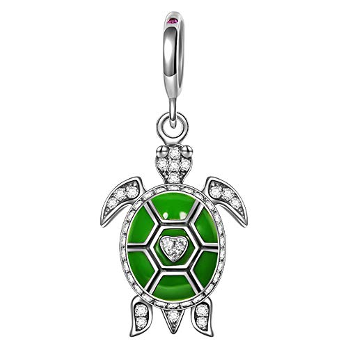 NinaQueen 'Ocean Turtle' 925 Sterling Silver Green Dangle Charms for Bracelet Necklace Jewelry Christmas Gifts For Women Birthday Anniversary Gifts For Her Teen Girls Wife Mom Daughter