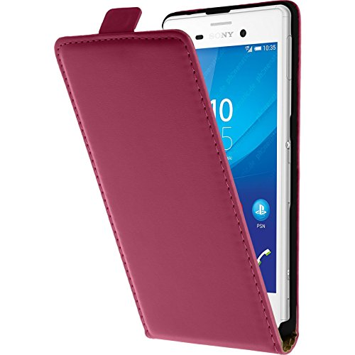 PhoneNatic Kunst-Lederhülle kompatibel mit Sony Xperia M4 Aqua - Flip-Hülle pink + 2 Schutzfolien