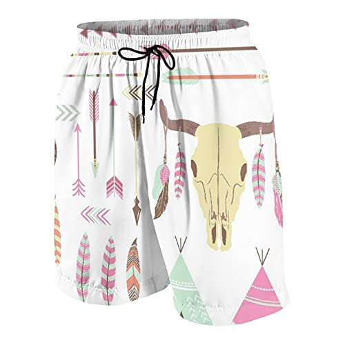 Men's Casual Board Shorts,Native American Tribal Indian Elements Dreamcatcher Mountain Goat Feather Arrow Ethnic Indie Art,Quick Dry Swim Trunks Beach Wear Sportswear with Mesh Lining