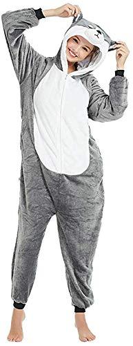 Mescara Pijama de animales de Cosplay entero unisex disfraz Halloween Carnaval Fiesta Mujer Hombre Animal Sleepwear Cane-1 S