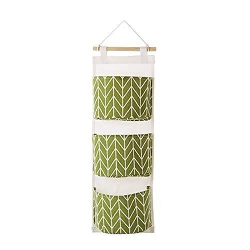 Neaer, organizer da appendere alla parete per armadio, contenitore in tessuto, in cotone, per cosmetici, per cellulare, colore verde