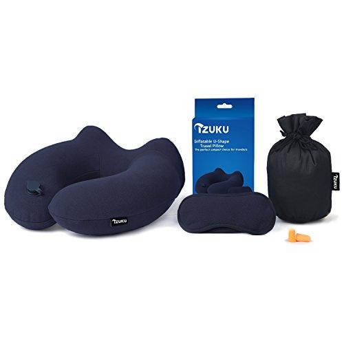 IZUKU Reisekissen Ideal für Reise Büro und Haus Nackenkissen mit stützenender Funktion Aufblasbares Nackenhörnchen mit Dem egornomischen Entwurf Weiches Nackstützenkissen(Blau)