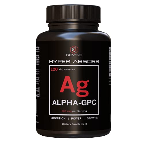 Alpha GPC Choline Supplements - 120 Hyper Absorb Capsules, 600mg Acetylcholine Supplements - Nootropics Brain Support Supplement, Advanced Memory Formula, Cognition & Focus Memory Pills for Brain Fog