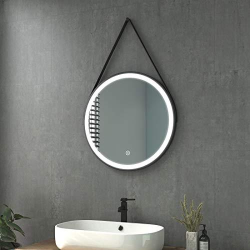Heilmetz Badezimmerspiegel mit Beleuchtung Rund LED Badspiegel 60 cm Durchmesser Spiegel Kaltweiß Lichtspiegel Wandspiegel mit Touchschalter, Wasserdicht IP44, Energieklass A++, Schwarz Rahmen