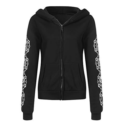HWTOP Damen Kapuzenjacke Vintage Gothic Zipper Sweatshirt Langarm Sweatjacke Große Größen Streetwear Mantel mit Kapuzen Tasche, Schwarz, XXL