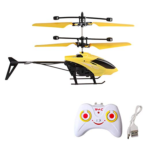 RC Helicopters, Christmas Gifts for Kids Mini RC Infrared Induction Remote Control Flying Helicopter 2CH Gyro RC Drone with Remote Controller for Indoor and Outdoor Games (Yellow)
