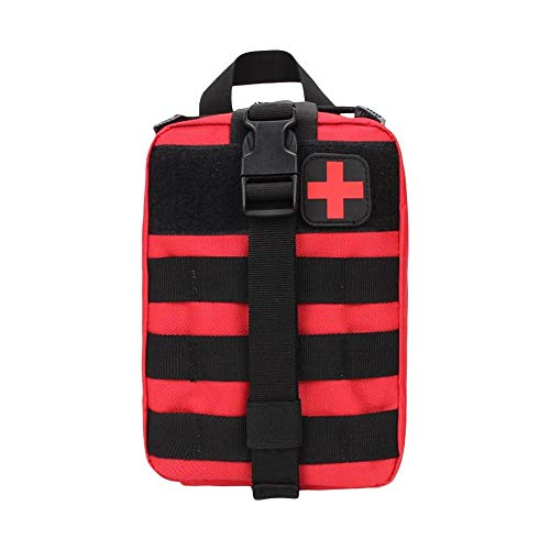 ArtMed Mini Tactical Portable First Aid Kit Empty Bag for Outdoor Travel Office Home First Aid Kit Hiking Camping Emergency Kit Best Survival Medical Organizer (RED)