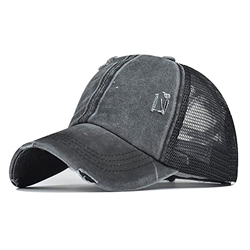 Gorra de béisbol de cola de caballo alta para mujer ajustable camionero malla lavado sombrero para hombres (negro cruzado, 6 7/8-7 5/8)