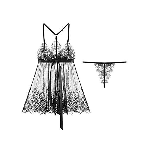 DEMXYA Sexy Encaje Perspectiva Arco lencería Sexy Pijamas Sexy Servicio casero (Todo tamaño) Traje Sexy (Color : Black)