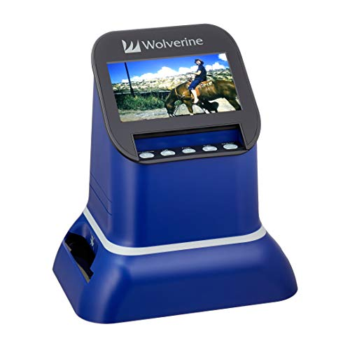 "Wolverine F2D Saturn Digital Film & Slide Scanner - Converts 120 Medium Format, 127 Film, Microfiche, 35mm Negatives & Slides to Digital JPEG - Large 4.3"" LCD w/HDMI Output (Blue)"