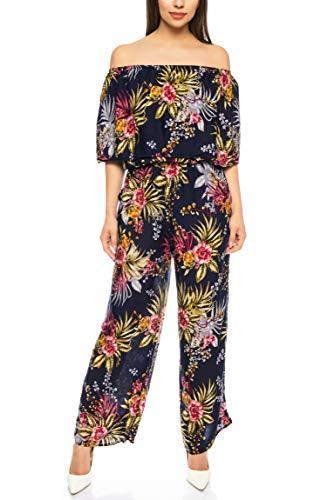 Kendindza Damen Overall Allover-Print | Floral Jumpsuit | Flower Hosenazug (Blau, S/M)