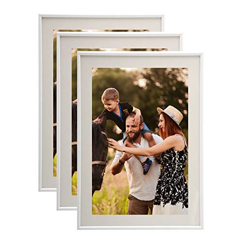Lot de 3 Cadres Photo A4 Blanc (21x29.7 cm) - Cadre Photo en résine avec vitre en Verre de Protection - Livré avec Pied chevalet et Crochets pour Fixation au Mur.