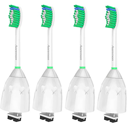 Aoremon Replacement Brush Heads Compatible with Philips Sonicare e-Series HX7022/66(4 Pack), Fit Sonicare Essence, Xtreme, Elite, Advance, and CleanCare Electric Toothbrush with Hygienic Caps