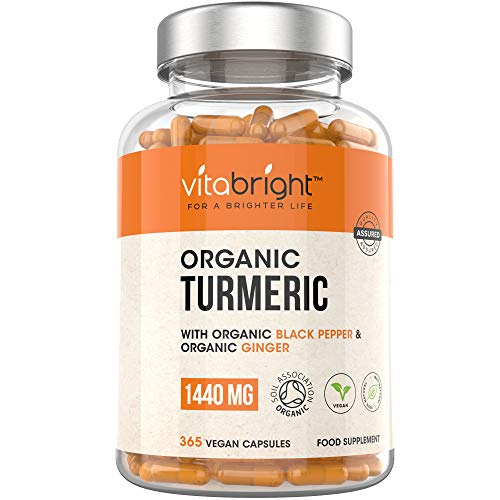 Organic Turmeric Curcumin 1440mg with Black Pepper & Ginger - 365 Vegan Turmeric Capsules - 6 Months Supply - Max Absorption Formula - Certified Organic, Made in The UK