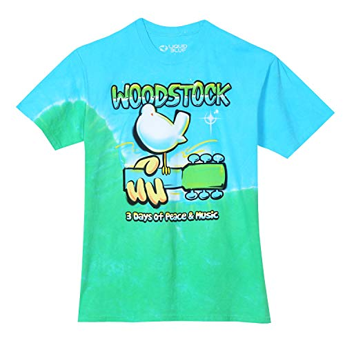 Liquid Blue Woodstock Graffiti Dove Guitar Short Sleeve Tee, TIE DYE, X-Large