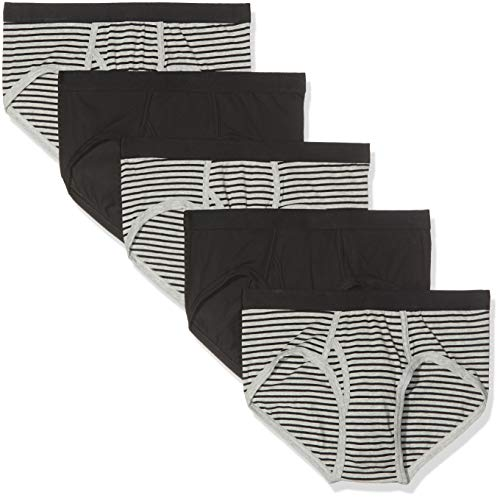 Marca Amazon - find. Slip para Hombre Y-Front, Multipack, Multicolor (Black & Grey Stripes/Black), L, Label: L