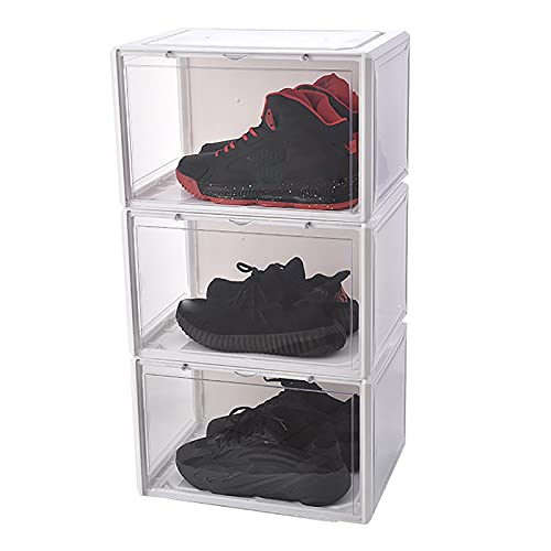 Caja De Zapatos Caja De Zapatos Apilable Caja De Zapatos Magnética DIY Zapatero De Plástico Armario Modular Armario De Zapatos Ajustable Cubo Portátil Caja De Almacenamiento De Zapatos,White 3