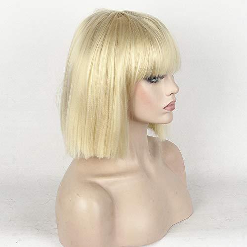 Novopus perruque: Femme Droit/Droit crépu Bob Coupe Carré/Court Bob/Avec Frange Cheveux Synthétiques Perruque Court Sans bonnet Noir Naturel Blond Platine StrongBeauty:Blond Platine