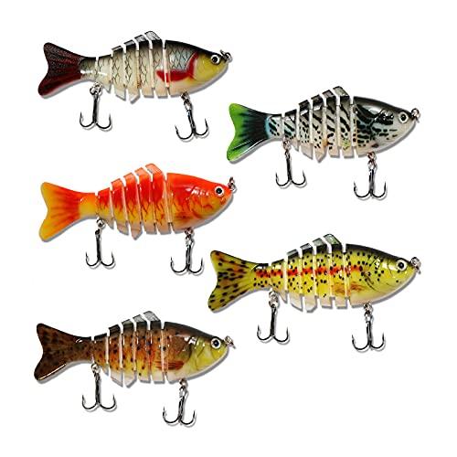 5 Señuelos de Pesca, 7 segmentos Cebos de Pescar, Cebo Artificial Duro, Cebo de Pesca hundido con Anzuelo para Agua Dulce y Salada