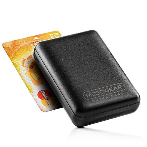 MOJOGEAR Mini 10 000 mAh extra snabb powerbank – med snabbladdning och USB-strömförsörjning – kompakt extern batteri-powerbank pack – 3 USB-utgångar – för iPhone, iPad, Samsung – 10 000 mAh – svart