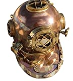 Antique Full Copper & Brass Diving Helmet Divers Helmet Us Navy Mark V...
