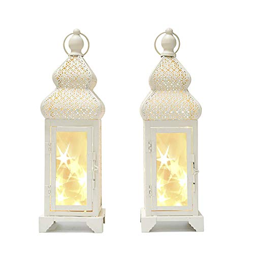 """decanit 14"""" Tall White Color Metal Lantern with 15 Led String Lights - with Star Reflection for Indoor Outdoor Use (Beige, 2pc 14"""")"""