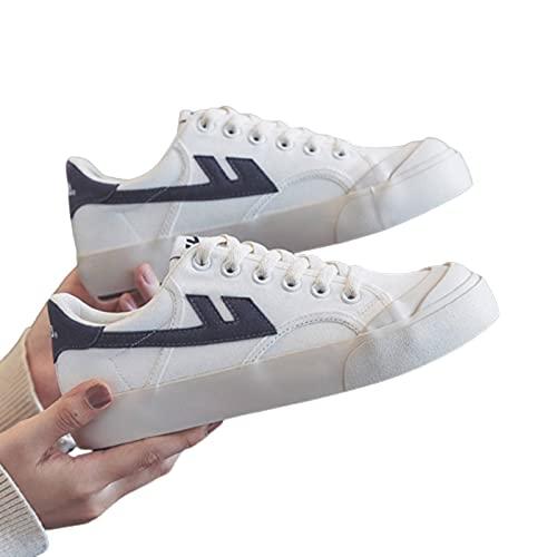 NC - Zapatillas informales para hombre y mujer vulcanizadas con ruedas para estudiantes clásicos, zapatos de tela transpirables, color blanco