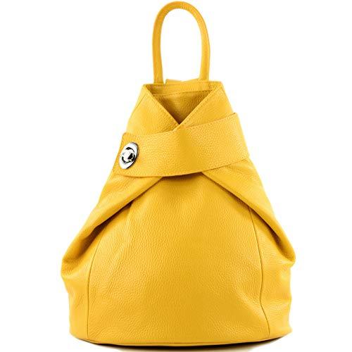 modamoda de - T179 - ital: Damen Rucksack Tasche aus Leder, Farbe:Gelb