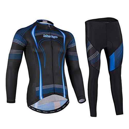 HUIGE Men's Cycling Bike Jersey Long Sleeves Biking Running Shirts 3 Pockets Breathable Quick Dry MTB Shirt + 3D Padded Pants Trousers,Black,S