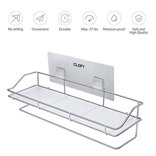 CLOFY Adhensive Badezimmer-Duschregal, 304 Edelstahl, Küchenregal mit Traceless-transparentem Klebe-Organizer, Duschkorb für Bad oder Küche – kein Bohren