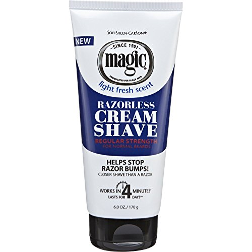 Magic Razorless Cream Shave Regular Strength Light Fresh Scent 6oz Tube