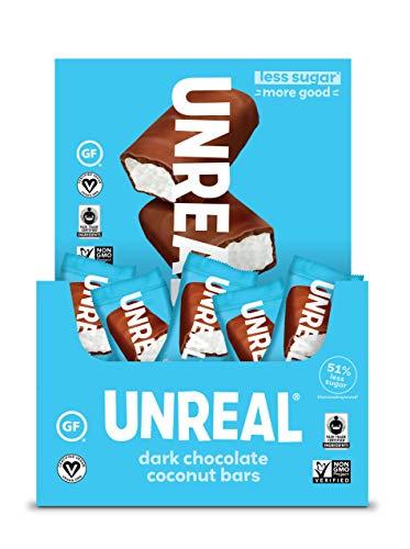 UNREAL Dark Chocolate Coconut Bars | 3g Sugar | Certified Vegan, Gluten Free, Fair Trade, Non-GMO | No Sugar Alcohols or Soy | 40ct