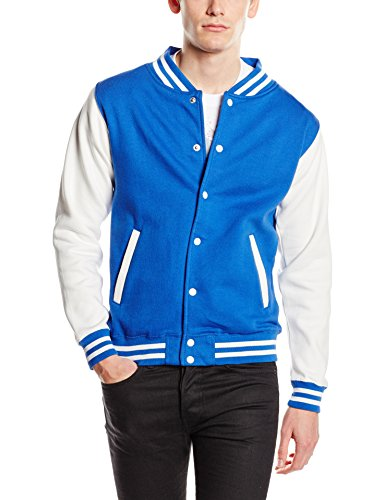 Just Hoods by AWDis Herren Jacke Varsity Jacket, Blau (Royal/White), Medium