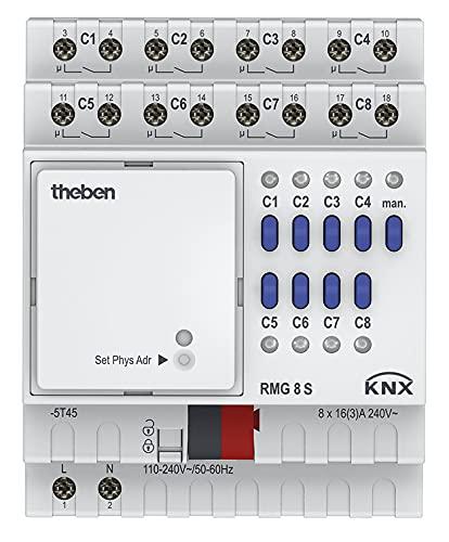 Theben 4930220 RMG 8 S KNX 8-fach Schaltaktor Grundmodul der MIX2 Serie I 8 Kanäle I DIN-Schiene I Hutschiene I 4 TE