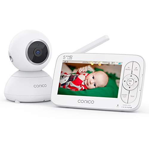 """Baby Monitor, Conico Video Baby Monitor with Camera, No WiFi, 5"""" HD LCD Screen 720p Display 960ft Range Rechargeable Battery Two Way Audio 2X Zoom Invisible IR Night Vision Temperature Monitoring"""