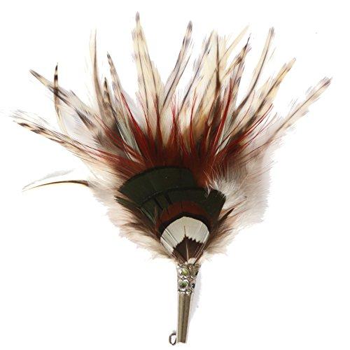 Echte Hutfeder | Hutanstecker – von Ente, Fasan - Handgemacht - Accessoir für den Trachtenhut – Inkl. Hülse – 13,5 x 3 cm