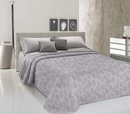 homelife Tagesdecke für Doppelbett Frühling Sommer Piqué [260 x 280], hergestellt in Italien, leichte Baumwolle, Muster mit Blättern, leichte Tagesdecke, 2P Rosa