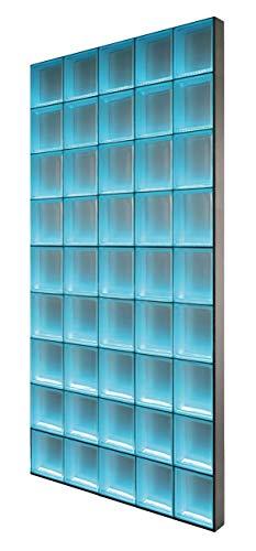 Light My Wall® - beleuchtete Glassteinwand - DIY KOMPLETTSET - Breite x Höhe: 122,5x220,5 cm – Riva Weiß 1-seitig satiniert 24x24x8 cm Beleuchtung: Bunt(Farbwechsel), Abschlussprofil: Alumnium satiniert - Raumteiler Duschabtrennung Theke Bar - individuell einsetzbar