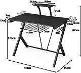 COSTWAY – Gaming Tisch (schwarz) - 5
