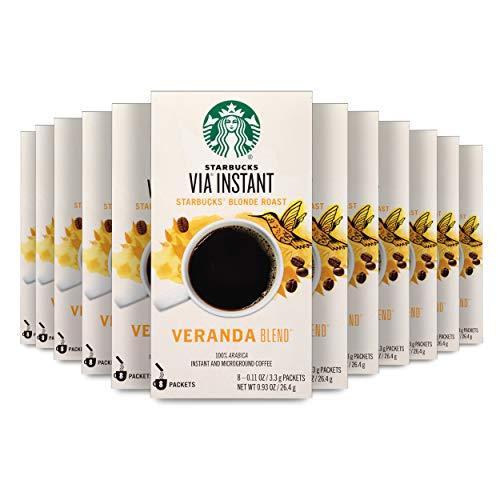 Starbucks VIA Instant Coffee Blonde Roast Packets — Veranda Blend — 100% Arabica - 8 Count (Pack of 12)