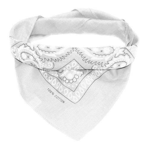 Oramics Bandana Koptuch Halstuch – 55 x 55 cm, gemustert: Paisley Muster – in verschiedenen Farben aus 100% Baumwolle, modernes Nikituch gegen Wind und Kälte (Weiß)